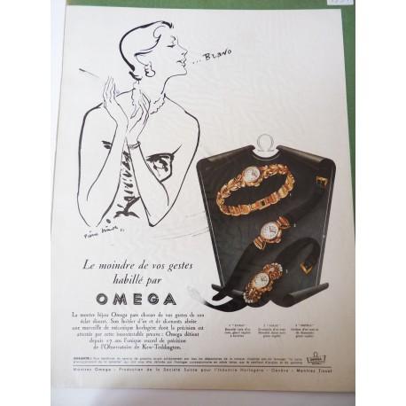 Ancienne publicité originale noir & blanc Omega de Pierre Simon 1951