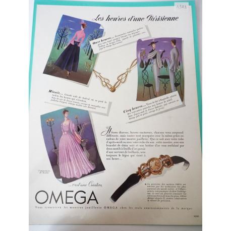 Ancienne publicité originale couleur Omega 1948
