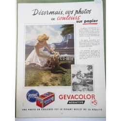 Ancienne publicité originale couleurs pour les films Gevacolor de Gevaert 1953