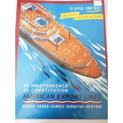 Ancienne publicité originale couleur American Export Lines de Georges Ronerry 1954