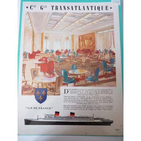 Ancienne publicité originale couleur Compagnie Générale Transatlantique de Leleu 1949