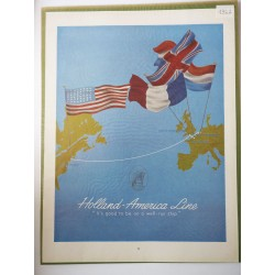 Ancienne publicité originale couleur Holland America Lines 1952