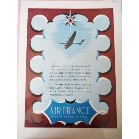 Ancienne publicité originale couleur Air France 1950