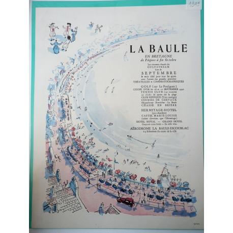 Ancienne publicité originale en bichromie La Baule de Pierre Pagès 1949