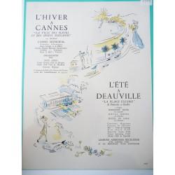 Ancienne publicité originale en bichromie Cannes & Deauville de Pierre Pagès 1949