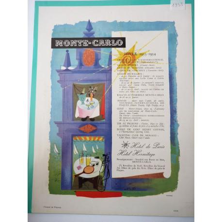 Ancienne publicité originale couleur Monte-Carlo 1953