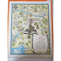 Ancienne publicité originale couleur Aix en Provence 1947