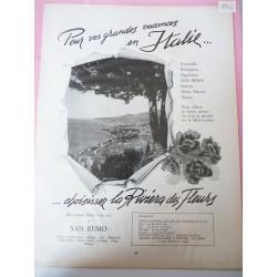Ancienne publicité originale noir & blanc Vacances en Italie 1952