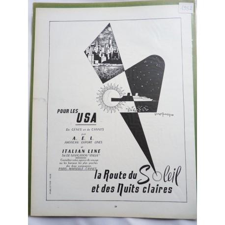 Ancienne publicité originale noir & blanc USA 1952