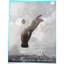 Ancienne publicité originale noir & blanc pour les gants Perrin 1937