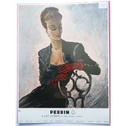 Ancienne publicité originale couleur pour les gants Perrin de Pierre Simon 1949