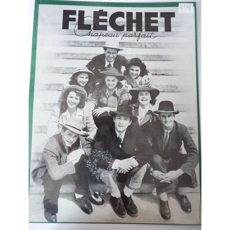 Ancienne publicité originale noir & blanc pour les chapeaux Fléchet 1948