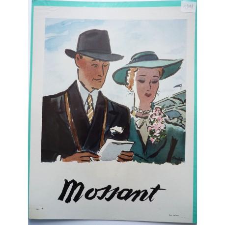 Ancienne publicité originale couleur pour les chapeaux Mossant de Eduardo Garcia Benito 1948