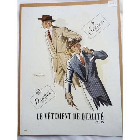 Ancienne publicité originale couleur pour les vêtements Darbel Everbest de Marcel Jacques Hemjic 1948