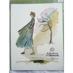 Ancienne publicité originale couleur CCC Le Couturier de l'Imperméable de Henry de Vos 1951