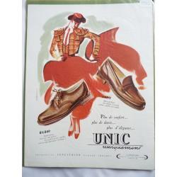 Ancienne publicité originale couleur pour les chaussures Unic de Jean Mercey 1952
