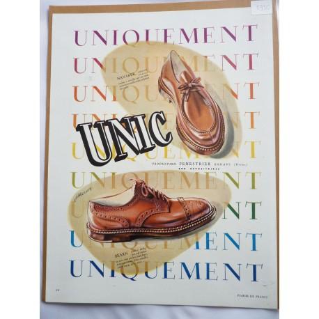 Ancienne publicité originale couleur pour les chaussures Unic de Jean Mercey 1950