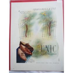 Ancienne publicité originale couleur pour les chaussures Unic 1949