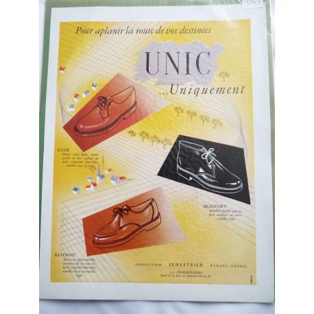Ancienne publicité originale couleur pour les chaussures Unic 1953