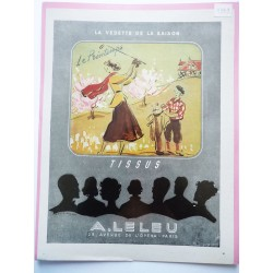 Ancienne publicité originale couleur pour les tissus Leleu de Régis Manset 1949