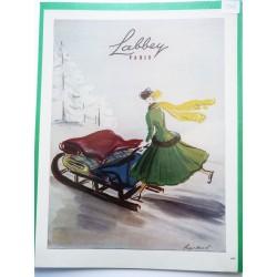 Ancienne publicité originale couleur pour les tissus Labbey de Régis Manset 1948