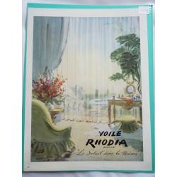 Ancienne publicité originale couleur pour le voile Rhodia de Pierre Pagès 1949