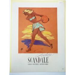 Ancienne publicité originale couleur pour la gaine Scandale de Bosc 1947