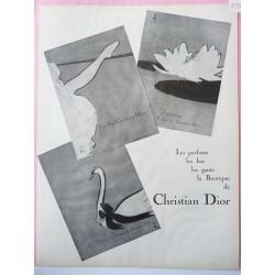 Ancienne publicité originale noir & blanc Christian Dior de Gruau 1952