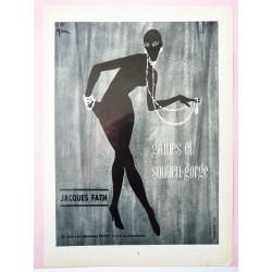 Ancienne publicité originale noir & blanc Jacques Fath de Gruau 1955