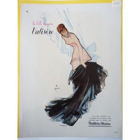 Ancienne publicité originale couleur pour la lingerie Valisère de Gruau 1948
