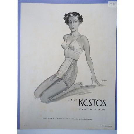 Ancienne publicité originale noir & blanc Kestos de Langlais 1947