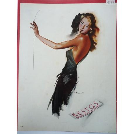 Ancienne publicité originale couleur Kestos de Brénot 1947