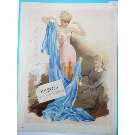 Ancienne publicité originale couleur Kestos 1948
