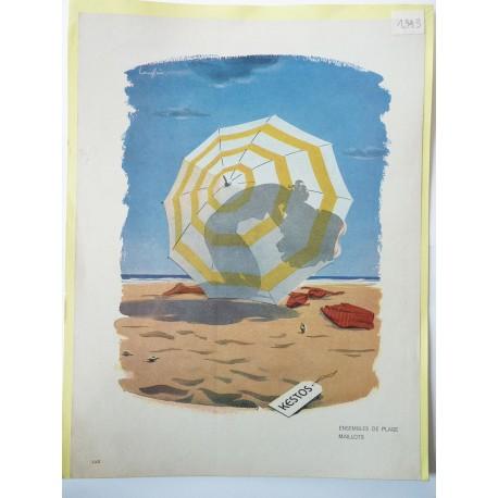 Ancienne publicité originale couleur Kestos de Langlais 1949