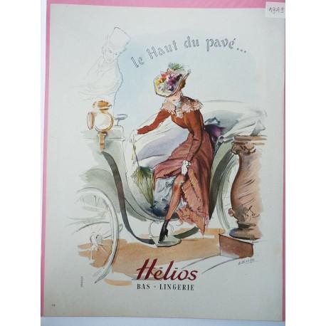 Ancienne publicité originale couleur Hélios de A. Baehr 1949