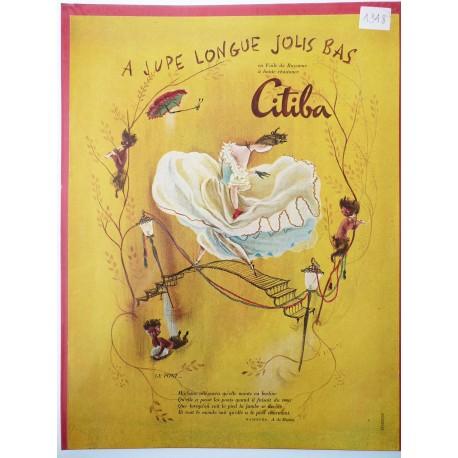 Ancienne publicité originale couleur pour les bas Citiba de Françoise Estachy 1948