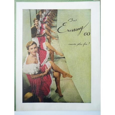 Ancienne publicité originale couleur pour les bas Exciting 1951