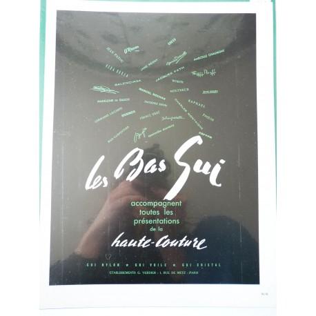 Ancienne publicité originale en bichromie pour Les Bas Gui 1949