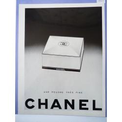 Ancienne publicité originale noir & blanc pour la poudre Chanel 1951