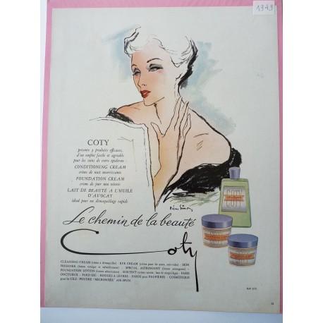 Ancienne publicité originale couleur pour les cosmétiques Coty de Pierre Simon 1949