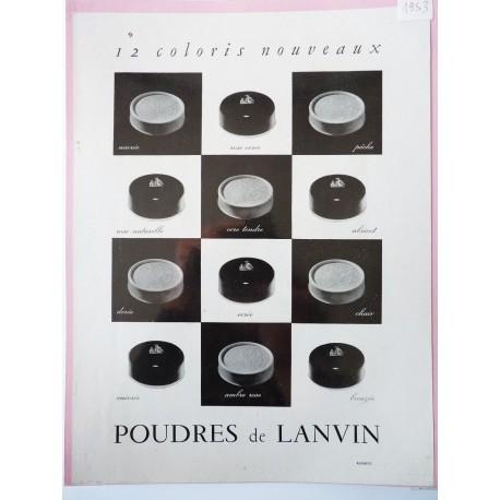 Ancienne publicité originale noir & blanc Poudres Lanvin 1953