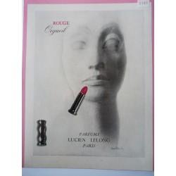 Ancienne publicité originale en bichromie Rouge Orgueil de Lucien Lelong de Pierre Boucher 1947