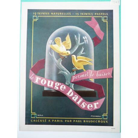 Ancienne publicité originale couleur Rouge Baiser de Pierre Fix-Masseau 1948