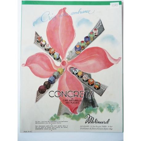 Ancienne publicité originale couleur Concreta de Molinard de Alprou 1949