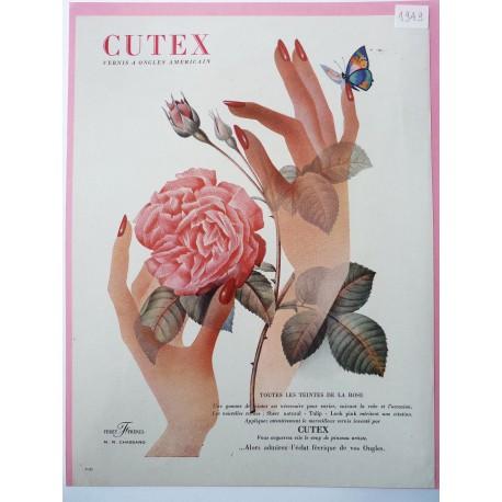 Ancienne publicité originale couleur Cutex 1949