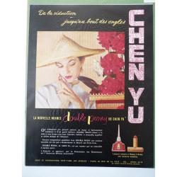 Ancienne publicité originale couleur pour le vernis Chen Yu 1951