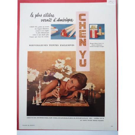 Ancienne publicité originale couleur pour le vernis Chen Yu 1950