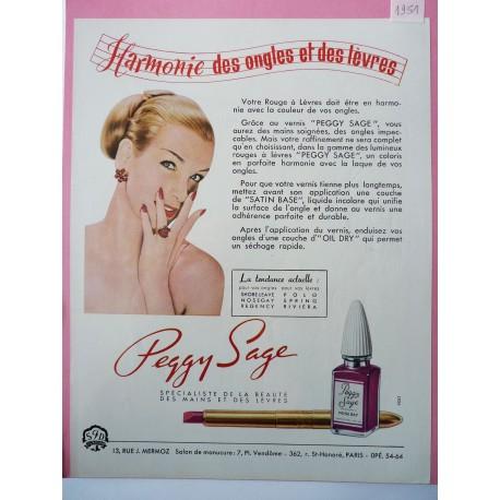 Ancienne publicité originale couleur Peggy Sage 1951