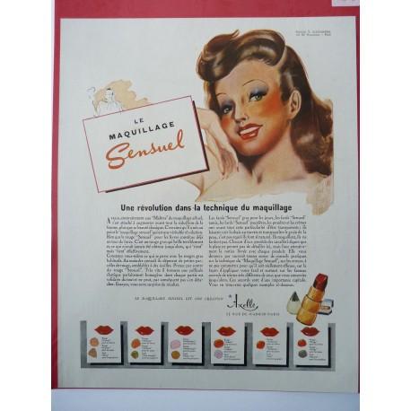 Ancienne publicité originale couleur rouge à lèvres Axelle 1949