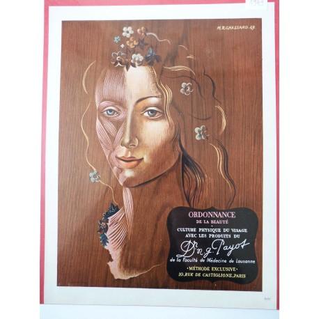 Ancienne publicité originale couleur produits du Dr Payot de Marcel R. Chassard 1949